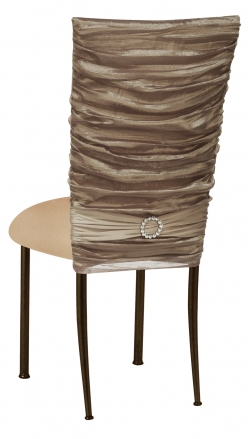 Beige Demure Chair Cover with Beige Stretch Knit Cushion on Brown Legs (1)
