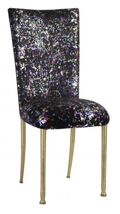 Black Paint Splatter Chair Cover and Cushion on Gold Legs (2)