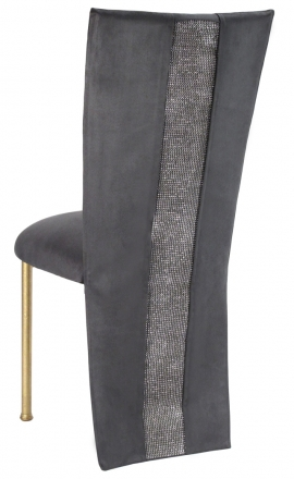 Charcoal Suede Jacket with Rhinestone Center and Cushion on Gold Legs (1)