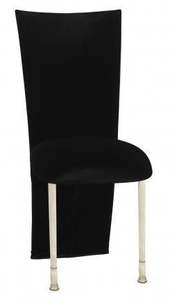 Black Velvet Zig Zag Black Lace Jacket with Black Stretch Knit Cushion on Ivory Legs (2)