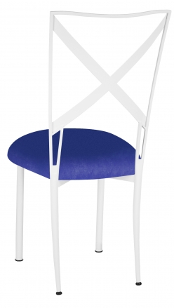 Simply X White with Royal Blue Stretch Knit Cushion (1)