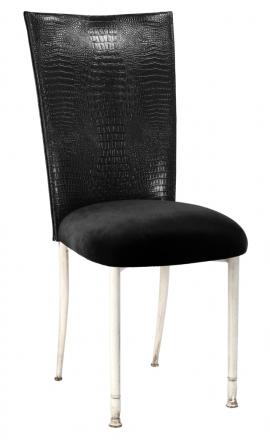 Black Croc Chair Cover with Black Velvet Cushion on Ivory Legs (2)
