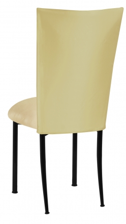 Light Pear Dupioni Chair Cover with Champagne Metallic Stretch Knit Cushion on Black Legs (1)
