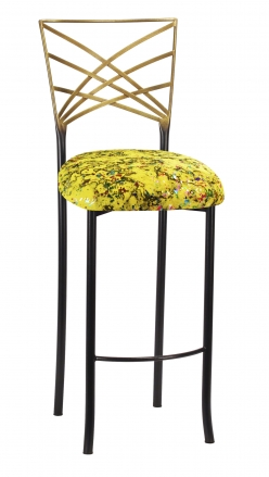 Two Tone Fanfare Barstool with Yellow Paint Splatter Knit Cushion (2)