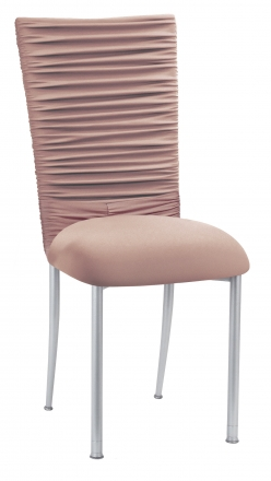 Chloe Blush Stretch Knit Chair Cover with Jewel Band and Cushion on Silver Legs (2)