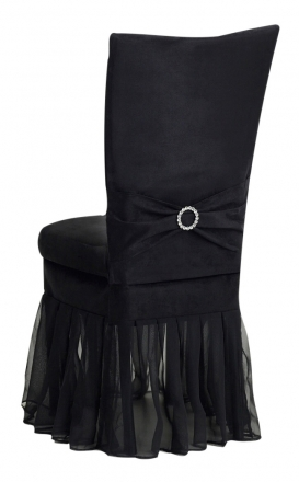 Black Suede Chair Cover with Jewel Belt, Cushion and Black Organza Skirt (1)