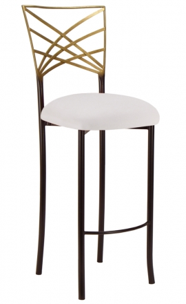 Two Tone Gold Fanfare Barstool with White Suede Cushion (2)