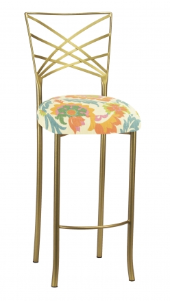 Gold Fanfare Barstool with Floral Bloom Boxed Cushion (2)