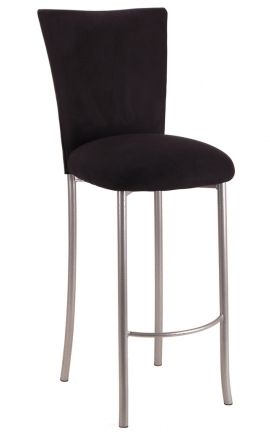 Black Suede Barstool Cover and Cushion on Silver Legs (2)