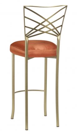 Gold Fanfare Barstool with Orange Taffeta Boxed Cushion (1)