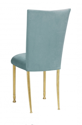 Ice Blue Suede Chair Cover and Cushion on Gold Legs (1)