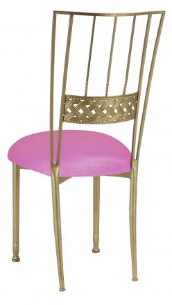 Gold Bella Braid with Pink Glitter Knit Cushion (1)