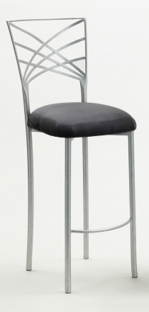 Silver Fanfare Barstool with Charcoal Suede Cushion (2)