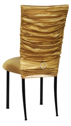 Gold Demure Chair Cover with Jeweled Band and Gold Stretch Knit Cushion on Black Legs (1)