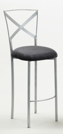 Simply X Barstool with Charcoal Suede Cushion (2)