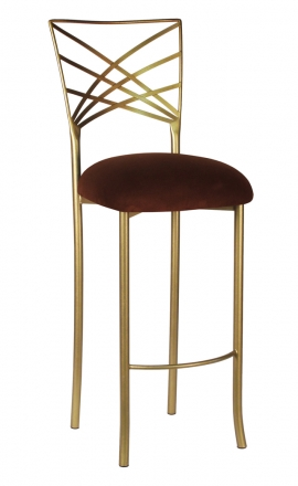 Gold Fanfare Barstool with Chocolate Suede Cushion (2)