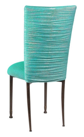 Chloe Mermaid Stretch Knit Chair Cover and Cushion on Mahogany Legs (1)