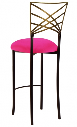 Two Tone Gold Fanfare Barstool with Hot Pink Stretch Knit Cushion (1)