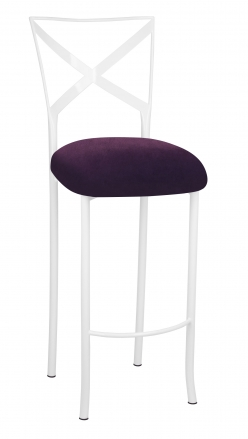 Simply X White Barstool with Eggplant Velvet Cushion (2)