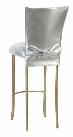 Silver Patent Barstool 3/4 Chair Cover with Rhinestone Accent Belt and Metallic Silver Stretch Knit Cushion on Gold Legs (1)