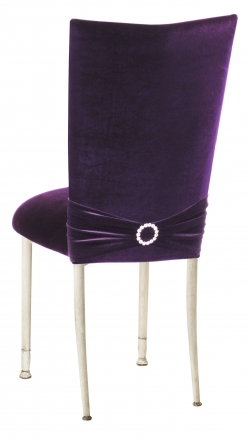 Deep Purple Velvet Chair Cover with Jewel Band and Cushion on Ivory Legs (1)