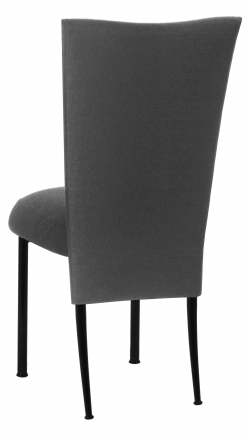 Charcoal Linette Chair Cover and Boxed Cushion on Black Legs (1)
