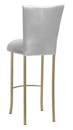 Metallic Silver Stretch Knit Barstool Cover and Cushion on Gold Legs (1)