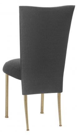 Charcoal Linette Chair Cover and Boxed Cushion on Gold Legs (1)