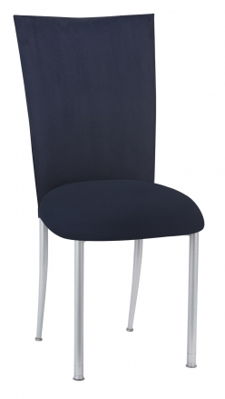 Navy Suede Chair Cover and Cushion on Silver Legs (2)