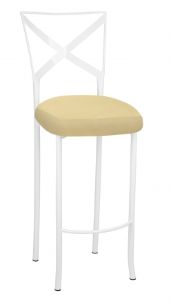 Simply X White Barstool with Buttercup Suede Boxed Cushion (2)