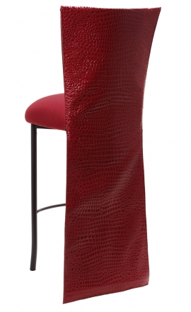 Red Croc Barstool Jacket with Cranberry Stretch Knit Cushion on Brown Legs (1)