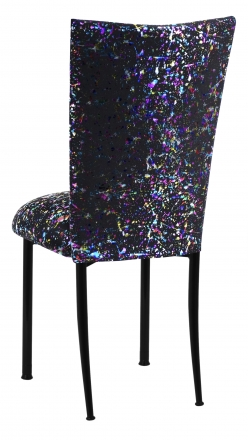 Black Paint Splatter Chair Cover and Cushion on Black Legs (1)
