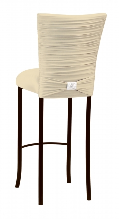 Chloe Ivory Stretch Knit Barstool Cover with Rhinestone Accent Band and Cushion on Brown legs (1)