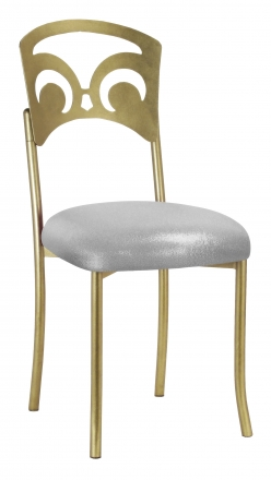 Gold Fleur de Lis with Metallic Silver Stretch Knit Cushion (2)
