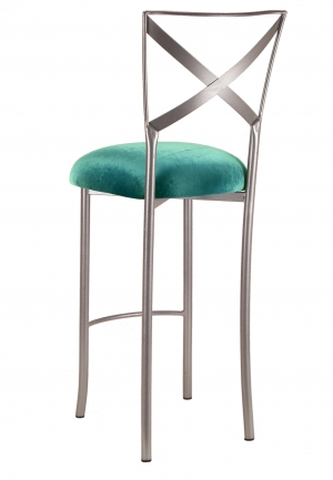Simply X Barstool with Turquoise Velvet Cushion (1)