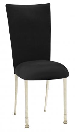 Black Velvet Chair Cover and Cushion on Ivory Legs (2)