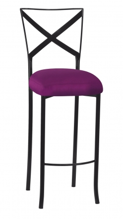 Blak. Barstool with Orchid Taffeta Boxed Cushion (2)