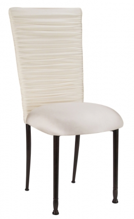 Chloe Ivory Stretch Knit Chair Cover and Cushion on Mahogany Legs (2)