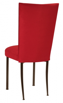 Rhino Red Suede Chair Cover and Cushion on Brown Legs (1)