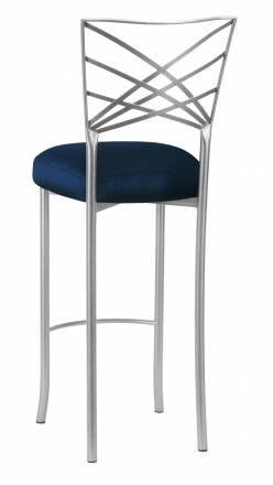 Silver Fanfare Barstool with Midnight Blue Taffeta Boxed Cushion (1)
