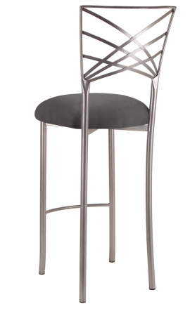 Silver Fanfare Barstool with Charcoal Suede Cushion (1)