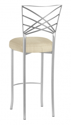 Silver Fanfare Barstool with Parchment Linette Cushion (1)