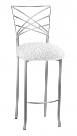 Silver Fanfare Barstool with White Lace over White Knit Cushion (1)