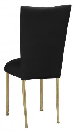 Black Velvet Chair Cover and Cushion on Gold Legs (1)