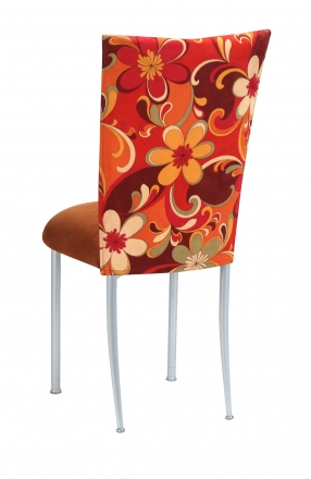 Groovy Suede Chair Cover with Copper Suede Cushion on Silver Legs (1)
