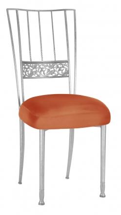 Silver Bella Fleur with Orange Taffeta Boxed Cushion (2)