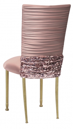 Chloe Blush Chair Cover with Bedazzle Band and Blush Stretch Knit Cushion on Gold Legs (1)