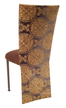 Brown and Gold Crest Chair Cover with Chocolate Suede Cushion on Brown Legs (1)