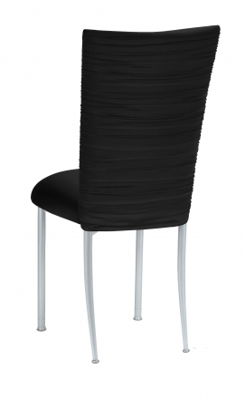 Chloe Black Stretch Knit Chair Cover and Cushion on Silver Legs (1)