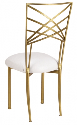 Gold Fanfare with White Suede Cushion (1)